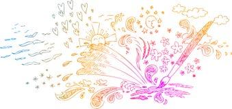 Verfborstel met schetsmatige krabbels Stock Foto