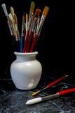 Verfborstels in een pot Royalty-vrije Stock Afbeelding