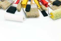 Verfborstels en rollen voor huisvernieuwing Stock Fotografie