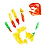 Verfdruk van menselijke hand Royalty-vrije Stock Fotografie