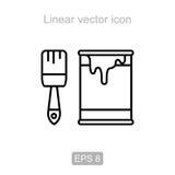 Verfemmer en Borstel Lineair pictogram Royalty-vrije Stock Afbeeldingen