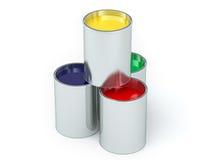 Verfemmers - met gekleurde verf Stock Foto's