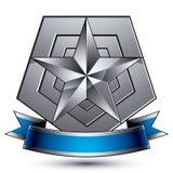 Verfijnd vectorembleem met zilveren glanzende ster en blauwe wav Stock Fotografie