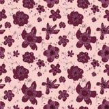 Verfijnd vectorroze en bloemen naadloze het patroonachtergrond van Bourgondië vector illustratie