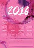 Verfkalender 2016 Stock Afbeeldingen