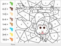 Verfkleur door aantallen - Aantekenvel voor onderwijs Royalty-vrije Stock Afbeelding