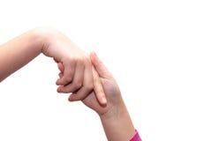 Verflochtene Hände von Mädchen, Handberühren Stockbilder