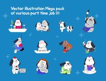 Verfolgen Sie Charakterillustration mit lustigem erfahrenem mit speziellem Teilzeit-jobsme lizenzfreie abbildung