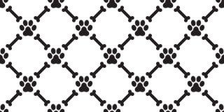 Verfolgen Sie Knochen-Welpenkatzen-Tapetenhintergrund Paw Seamless-Musters Vektor lokalisierten Hunde stock abbildung