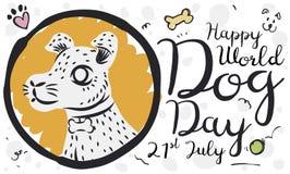 Verfolgen Sie Porträt-in der Hand gezeichnete Art für Hundstag-Feier, Vektor-Illustration lizenzfreie abbildung