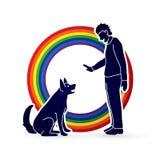 Verfolgen Sie Training, a-Mann, der einen Hund ausbildet Lizenzfreie Stockfotos