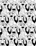 Verfolgt nahtloses Schwarzweiss-Muster der Charaktergefühle Stock Abbildung