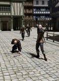 Verfolgung durch eine mittelalterliche Straße Stockfotos