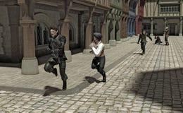 Verfolgung durch eine mittelalterliche Straße Lizenzfreies Stockfoto