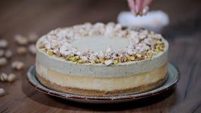 Verfraai de cake van de pistachemousse, kaastaart stock footage
