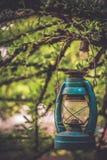 Verfraai Tuin met Uitstekende Lantaarnlamp stock afbeeldingen