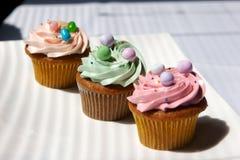 Verfraaid gastronomisch cupcakes Stock Afbeelding