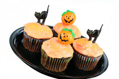Verfraaid Halloween Cupcakes op Wit Royalty-vrije Stock Fotografie