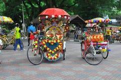 Verfraaid trishaw in Melaka Stock Fotografie