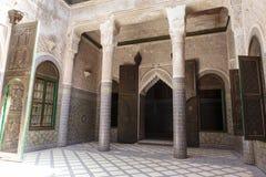 Verfraaide binnenplaats binnen Kasbah Telouet in de Hoge Atlas, Centraal Marokko, Noord-Afrika Stock Fotografie