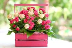 Verfraaide bloemenrozen Stock Foto's