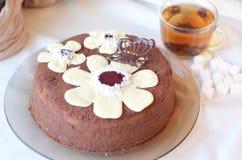 Verfraaide bruine cake met cacaosuikerglazuur Royalty-vrije Stock Foto's