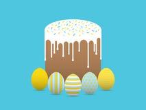 Verfraaide eieren met Pasen-cake Stock Foto