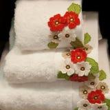 Verfraaide handdoeken Stock Afbeeldingen