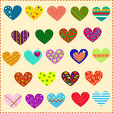 Verfraaide harten, patronen Royalty-vrije Stock Afbeelding