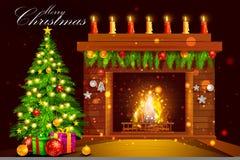 Verfraaide Huisopen haard voor de Vrolijke viering van de Kerstmisvakantie vector illustratie