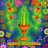 Verfraaide kaars voor Vrolijke de vieringsachtergrond van de Kerstmisvakantie Royalty-vrije Stock Foto's
