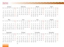Verfraaide kalender van 2011 Stock Foto's
