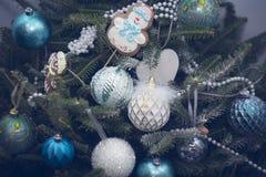 Verfraaide Kerstboom Stock Foto