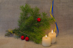 Verfraaide Kerstboom en kaarsen Royalty-vrije Stock Foto