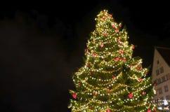 Verfraaide Kerstboom in Stad Hall Square - Tallinn, Estland stock afbeelding