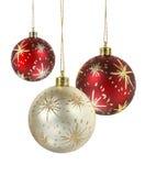 Verfraaide Kerstmisballen Stock Afbeeldingen