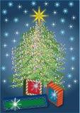 Verfraaide Kerstmisboom stock illustratie