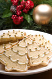 Verfraaide Kerstmiskoekjes in het feestelijke plaatsen Royalty-vrije Stock Foto's