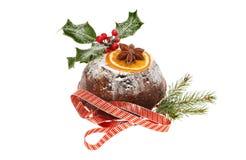 Verfraaide Kerstmispudding Royalty-vrije Stock Afbeeldingen