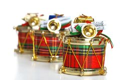 Verfraaide Kerstmistrommels Royalty-vrije Stock Foto's