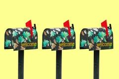 3 verfraaide Mailboxs Royalty-vrije Stock Foto's