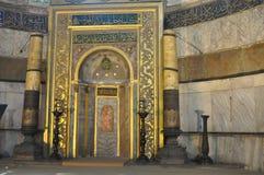 Verfraaide Mihrab van moskee Hagia Sophia in Istanboel, Turkije Royalty-vrije Stock Fotografie