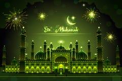 Verfraaide Moskee op Eid Mubarak stock illustratie