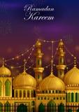 Verfraaide moskee op Eid Mubarak Happy Eid Ramadan-achtergrond stock illustratie