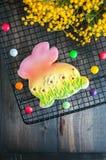 Verfraaide Pasen Bunny Cookie Stock Foto's
