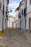 Verfraaide steeg Evora Portugal Stock Foto