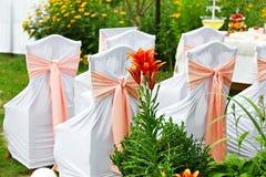 Verfraaide stoelen voor gasten bij huwelijk in de tuin Stock Afbeeldingen