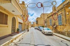 Verfraaide straat van Nadur, Gozo, Malta stock afbeelding