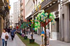 Verfraaide straten van Girona Royalty-vrije Stock Foto's