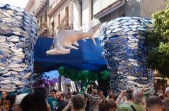 Verfraaide straten van Gracia-district. Onderwaterthema Stock Foto